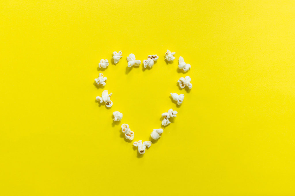 Heart made of popcorn