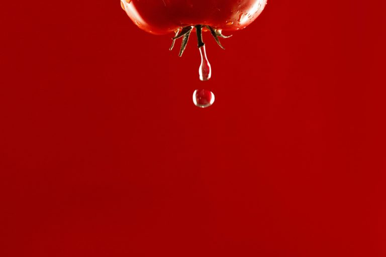 Apple droplet of water